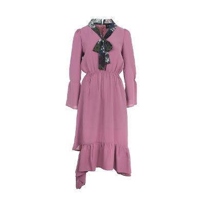 ribbon collar point ruffle dress pink